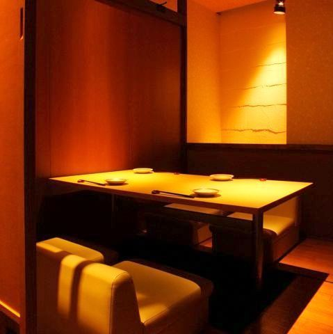 In all the private rooms, you can relax and enjoy the dishes.