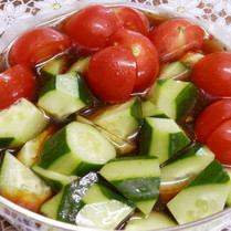 トマトとキュウリのわさび醤油
