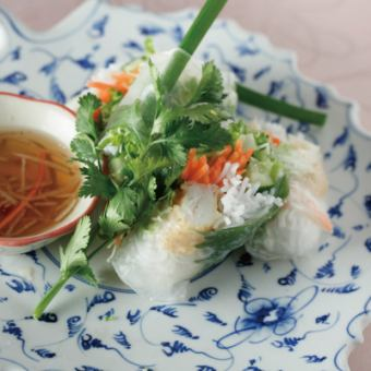 白身魚と野菜の生春巻き