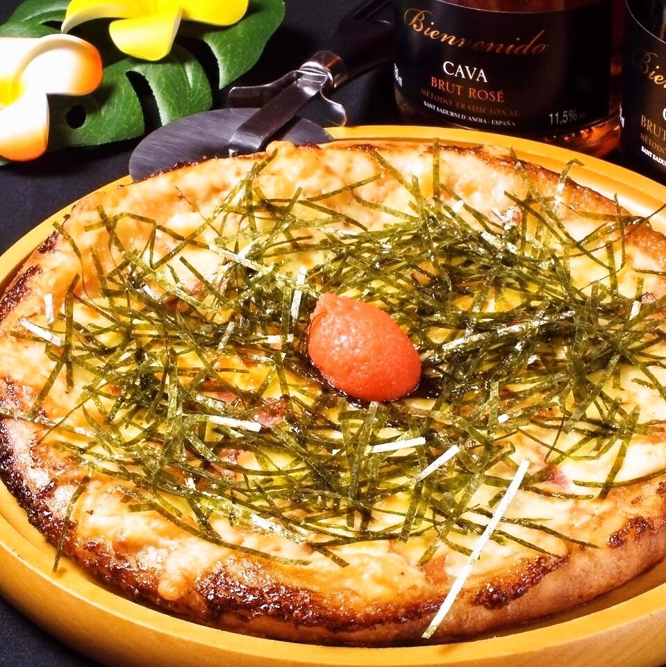たっぷり明太子のマヨネーズピザ