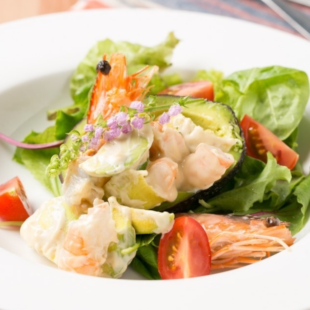 Homemade mayonnaise with angel's shrimp and avocado