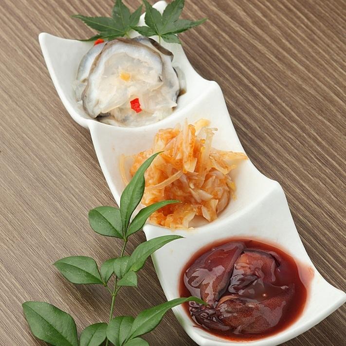 Assortment of three delicacies