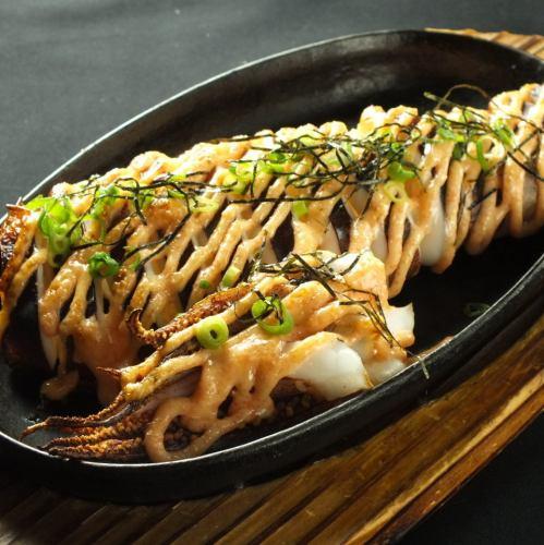 丸ごとスルメイカの明太マヨ焼