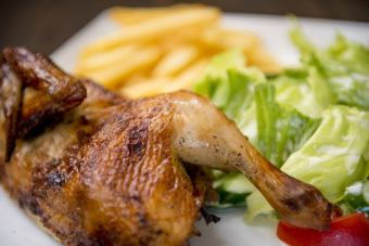 [POLLO A LA BRASA] Herb Roast Chicken (Potato Fly, with Salad)