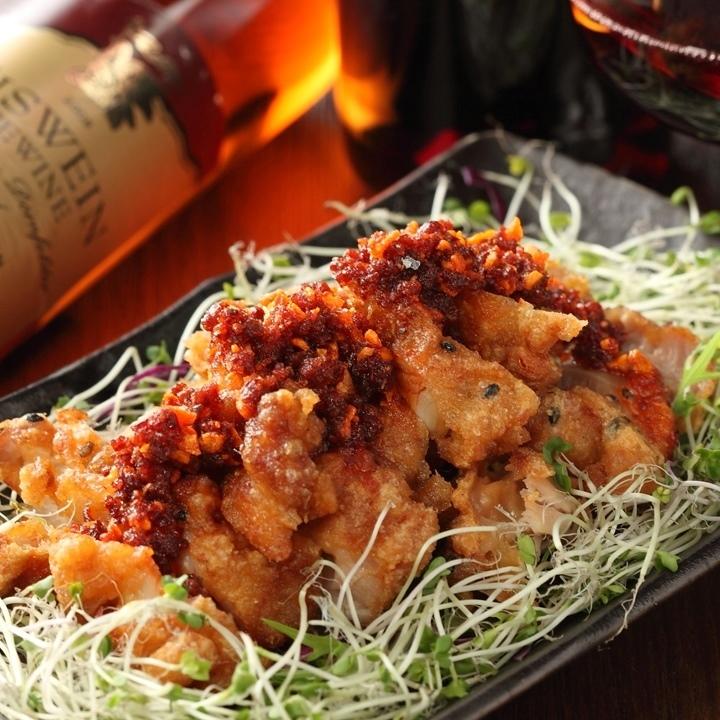 食べるラー油の油淋鶏