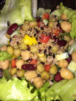 Healthy salad with quinoa and beans