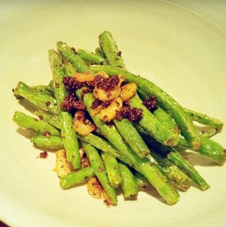 Fried touchi of green beans