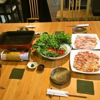 """150 minutes with all you can drink"" Samgyeopsal pan full course 5000 yen"