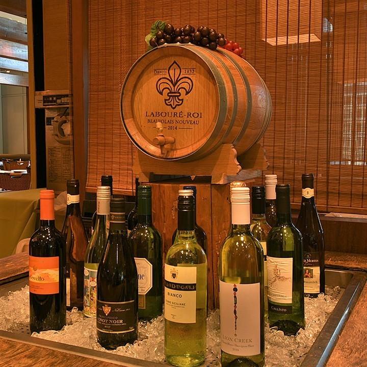 ワインは赤・白含めて15~20種類をご用意☆