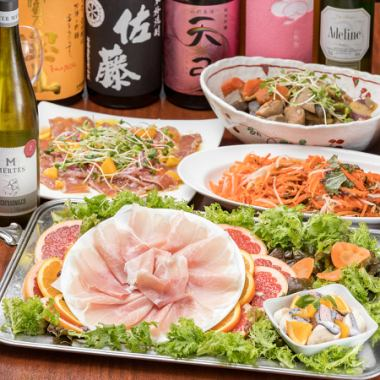 """""""Banquet course"""" with raw ham 1 dish 120 minutes drink all-you-can-eat buffet 4,800 yen"""