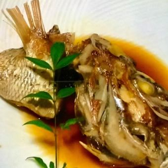 Braised helmet of snapper