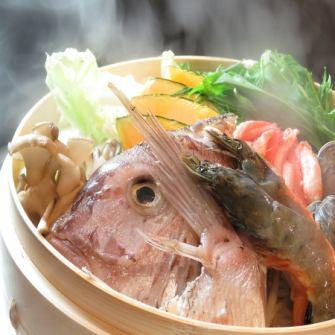 【명물】 생선과 찜 조개 특상 세이로 찜