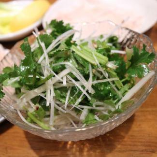 Chiba direct! Pakuti and leek and chicken Sasami's flavored salad