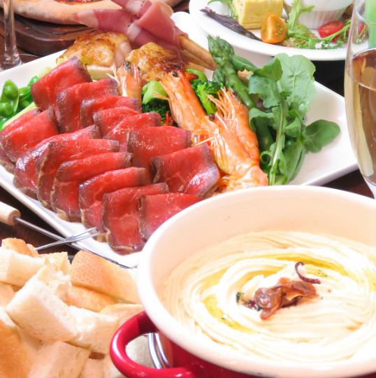【All-you-can-drink banquet plan】 Roast beef cheese fondue ★ All you can drink for 120 minutes 6 items ⇒ 3500 yen (excluding tax)