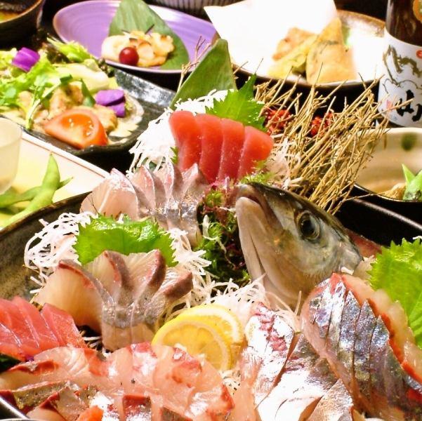 附带缝制的九州底层海鲜·海鲜品尝的道路[10项]含2500日元〜1500日元的无限饮料,包括生啤酒!