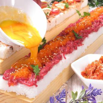 【昼限定】昼宴会や女子会に新メニュー★ユッケ肉寿司食べ飲み放題コース2980円