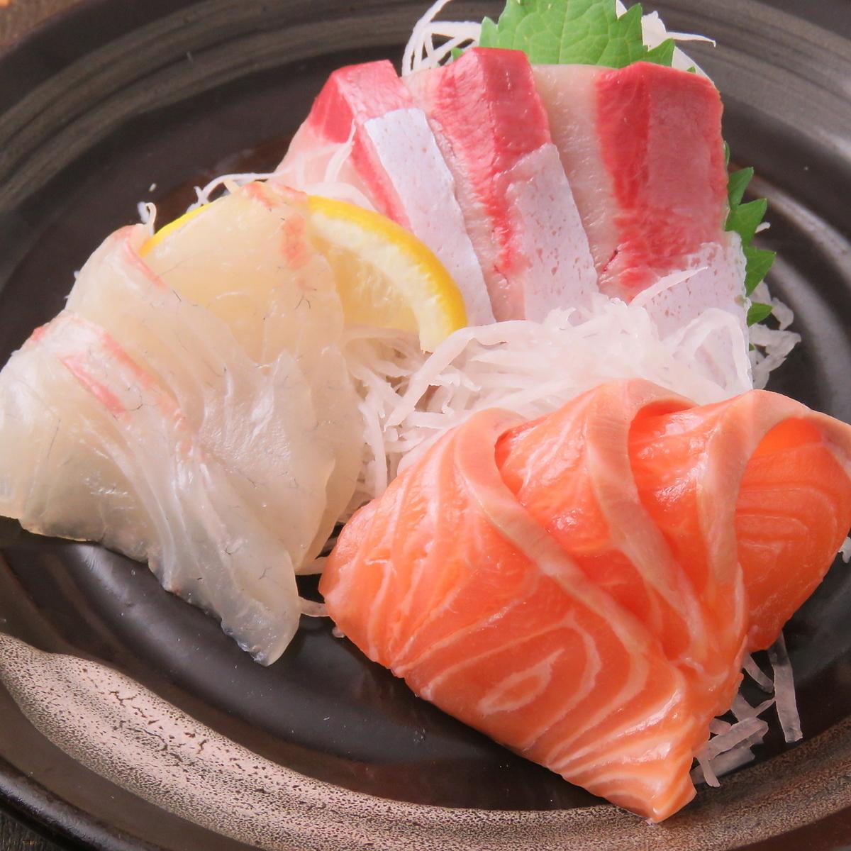 Three servings of sashimi