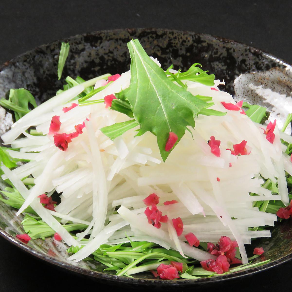 Crispy plum and radish freshly refreshing salad