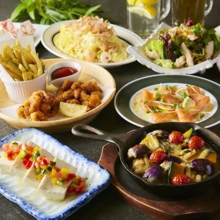 ■ 매화 ■ 야채 · 생선 · 고기의 균형 발군 ◎ 柚月 표준 코스 [2.5 시간 음료 뷔페 포함] 7 종 3,000 엔