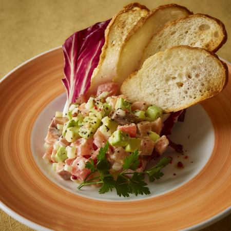 Avocado and salmon with chopped tartar bucket