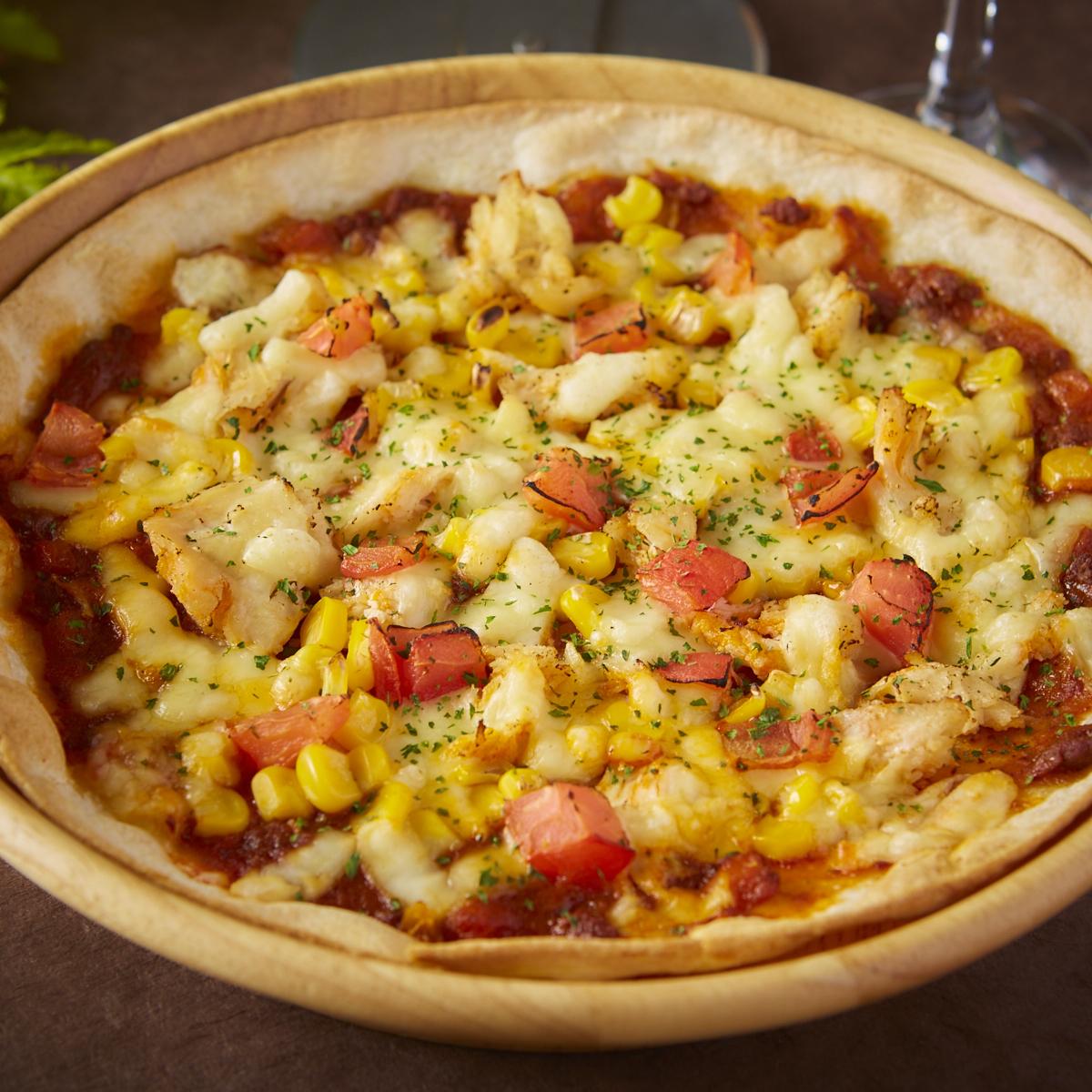 치킨 콘 피자