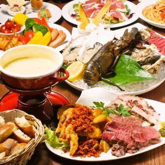 歓送迎会にオススメ★PariPari 贅沢肉宴会コース★3H飲放付 生ガキも楽しむ♪ 6000円
