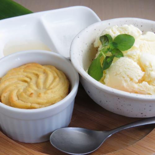 配以红薯和香草冰淇淋