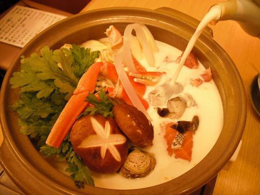 【2小時免費飲料將包括】優秀的產品!膠原蛋白充足♪海鮮豆漿鍋當然7000日元