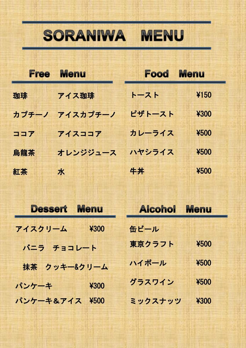 Menu Table