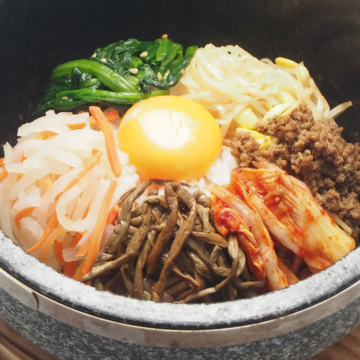 The end is a stone - cooked bibimbap!