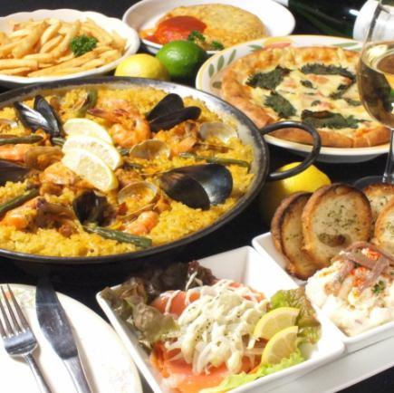 【休闲与基础】【9项目】基本的西班牙海鲜饭套餐(2小时饮用,你买得起)3900日元