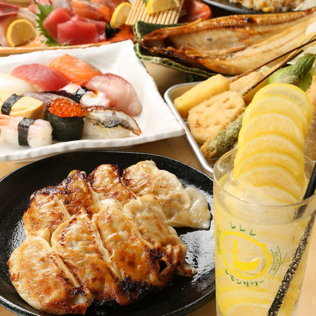 玉造駅徒歩1分!!名物ジャンボ餃子とレモンサワーが楽しめます!!コース2000円(税込)~