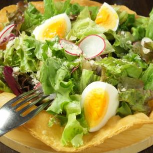 Eating salad with a plate