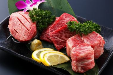 【A5黒毛和牛厚切3点盛り付コース】A4焼肉+韓国料理《女性4680円⇒4180円/男性4980円⇒4480円》