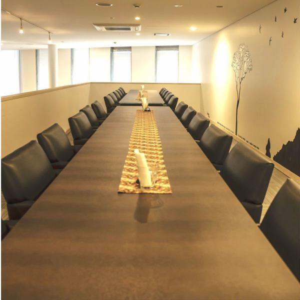 A semi-private table seat that can be used for conferences and training.◎ Up to 24 people can use it directly at the dinner party after the meeting or training.