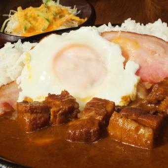 自制咖喱猪肉+熏肉和鸡蛋的一流♪♪