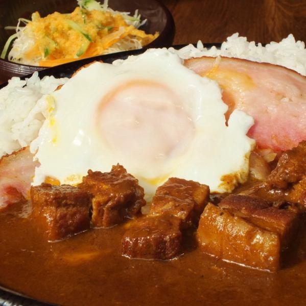 [自制猪肉咖喱(沙拉)]摘心♪熏肉&鸡蛋