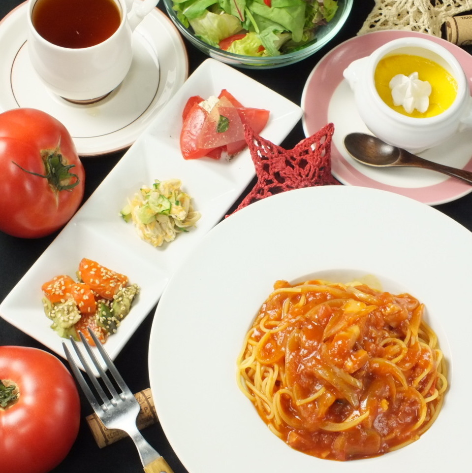 Today's pasta · mini salad · 3 appetizers · dessert