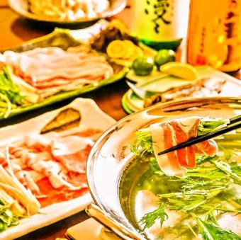 All 8 items 120 minutes with unlimited drinks ☆ Okinawa Prefecture Black pig Ahuu Yabaru Island Pig Shabu-shabu course 【4,500 yen】