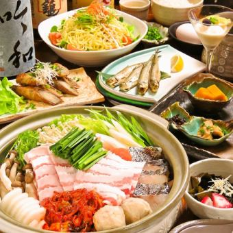 All 8 items 120 minutes with all you can drink! Okinawa black pigs Ahoo Yanbare island pig pig kimchi pot course 【4,000 yen】