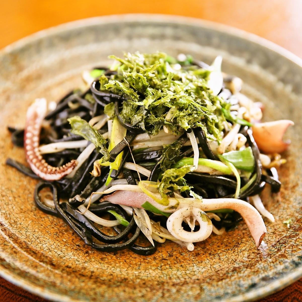 Local cuisine of Okinawa ~ Squid inked fried noodles ~