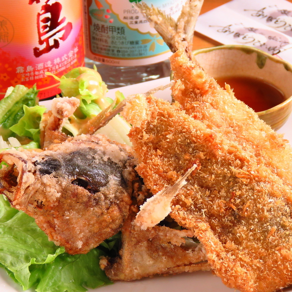 Fried raw fish