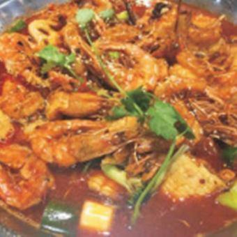 Shrimp special sauce simmered