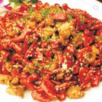 Stir-fried chicken and red pepper