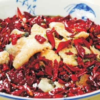Stew with Sichuan style of fish and mustard and Japanese peppers
