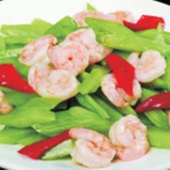 Stir-fried asparagus and shrimp