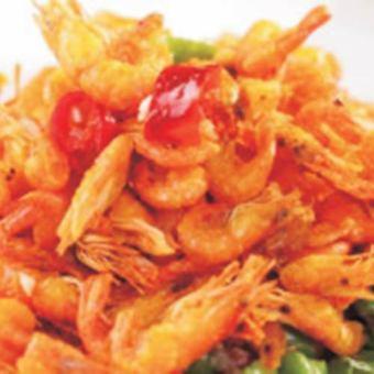 Fried river shrimp