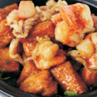 Braised three fresh tofu