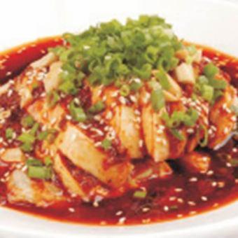 쓰촨 바람 침 닭 / 소 정강이 간장 조림 / 램 혀 마늘 무침 / 라무레바 마늘 무침