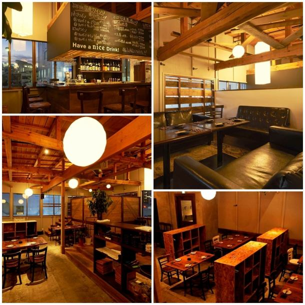 【Stylish space that imagined warehouse】 Inside open spaciously on high ceiling ♪ Guide for guests for 40 people ~ maximum of 60 people is possible.The in-store table and rack are movable so you can freely arrange your seats ☆ Please also have a party at the wedding party second meeting! 【Aya Atsugi Banquet Girls' Association Private Territories All you can drink】
